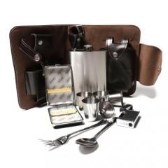 Подарочный набор с фляжкой в кожаной барсетке + 10 предметов