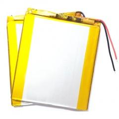 Аккумулятор 2 провода, ёмкость 3000 mAh, 3.7V, размер 80 x 70 x 3,5 мм.