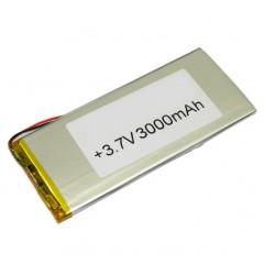 Аккумуляторная батарея с 2 проводами, ёмкость 3000 mAh, 3.7V (125 x 55 x 3 мм.)