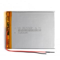Универсальный аккумулятор с 2-мя проводами - 3500 mAh, 3.7V (90 x 70 x 3,5 мм.)