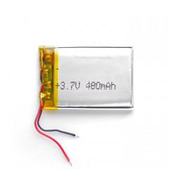 Аккумуляторная батарейка с проводами 480 mAh, 3.7V (40 x 30 x 4 мм.)