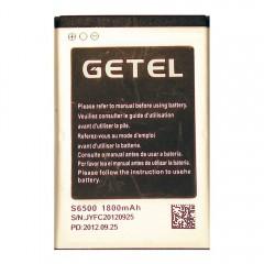 АКБ GETEL S6500 1800 mAh, 3.7V, 5.00Wh, размер 66 x 44 x 4 мм.