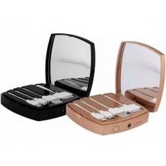 Внешний аккумулятор Power Bank CC 5000 mAh - Зеркало для макияжа (4 кабеля внутри)