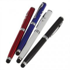 4в1: лазерная указка + светодиодный фонарик + стилус для сенсорного экрана + шариковая ручка