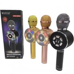 Караоке-микрофон WSTER WS-669 (Bluetooth / USB / MicroSD / AUX / FM / LED подсветка)