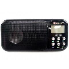 Радиоприёмник NGY-102 (MP3 / SD / USB / часы / будильник / фонарик) (6 Вт)