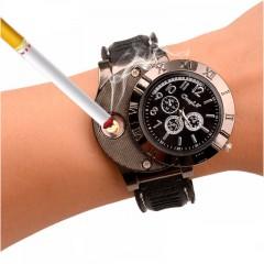 Мужские часы и беспламенная USB-зажигалка - 2 в 1