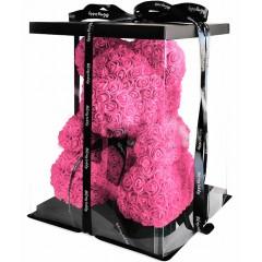 Медведь из бутонов роз с лентой (40 см.) + подарочная коробка