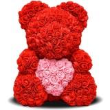 Мишка из бутонов роз с сердцем (40 см.)