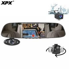 Видеорегистратор зеркало XPX ZX816 (3 камеры) (дорога + салон + задний вид)