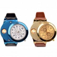 Электронная USB-зажигалка, встроенная в наручные часы