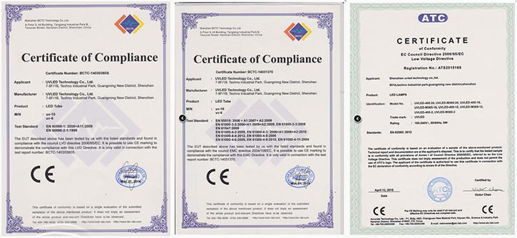 Сертификаты на лампы Sunuv