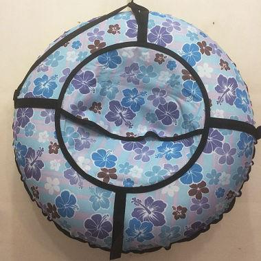Надувные санки голубые в цветочек