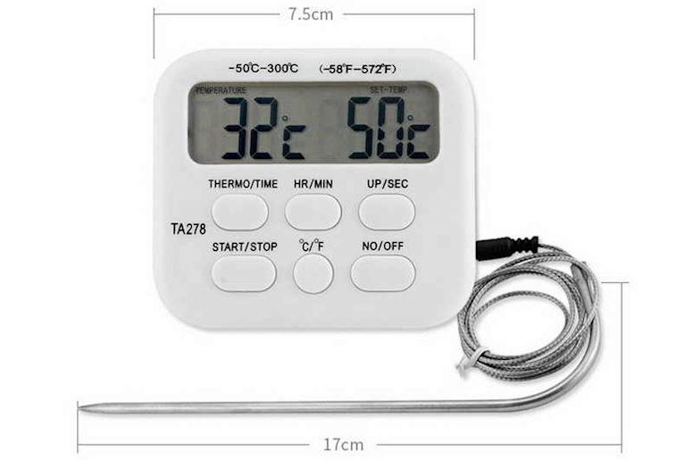 Термометр щуп с зондом и таймером TA-278