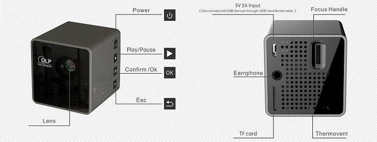 Микро DLP LED проектор UNIC P1 (Micro SD)
